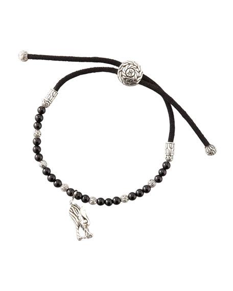 Batu Naga Silver Cord Bracelet, Black