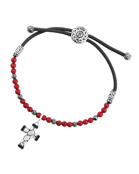 Kali Reconstructed Coral Beads & Cross Charm Bracelet