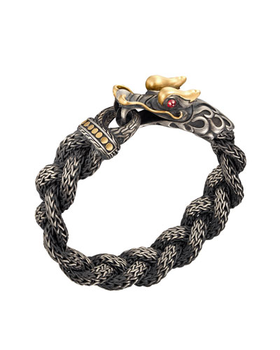 Men's Naga Braided Dragon Head Bracelet with Ruby