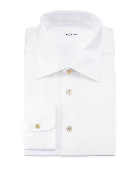 Kiton Poplin Dress Shirt, White