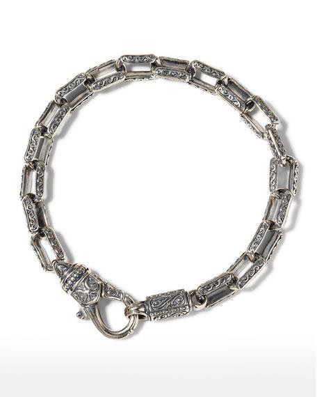 Konstantino Men's Etched Rectangular Link Bracelet