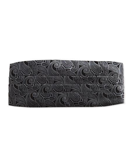 Paisley Silk Cummerbund, Black/Silver