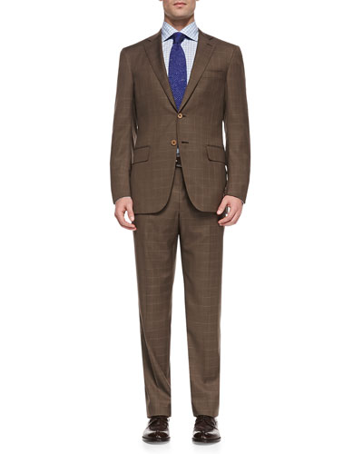 Windowpane Two-Button Suit, Brown