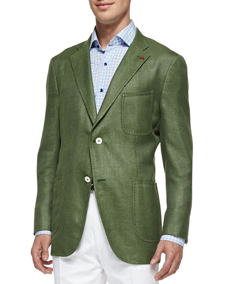 Isaia Soft Two-Button Blazer, Sage Green