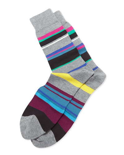 Melange Striped Socks, Gray