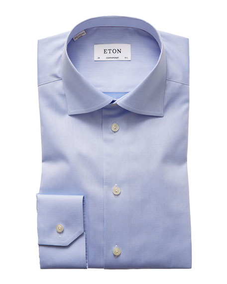 Eton Solid Fine-Twill Dress Shirt, Light Blue