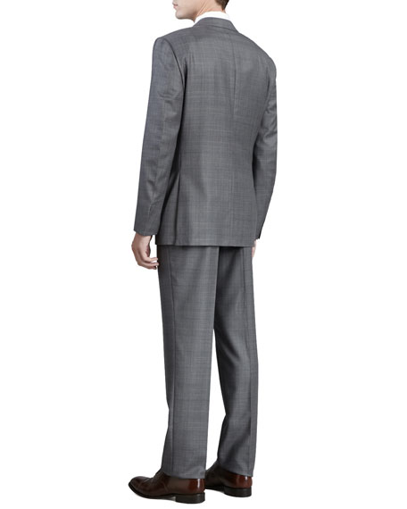 Glen Plaid Two-Piece Suit, Gray