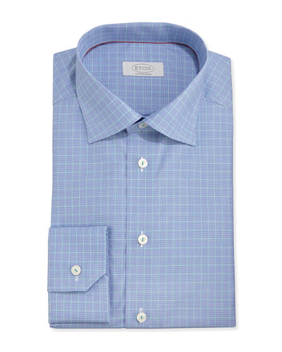 Micro-Houndstooth Slim Fit Twill Dress Shirt, Blue