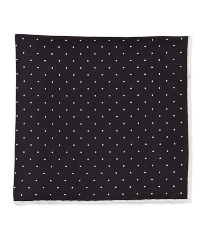 Dot-Print Pocket Square, Black