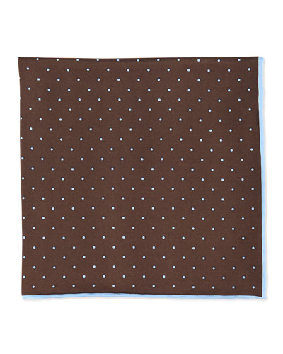Dot-Print Pocket Square, Brown