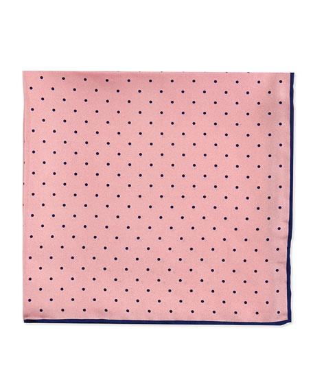 Dot-Print Pocket Square, Pink/Navy