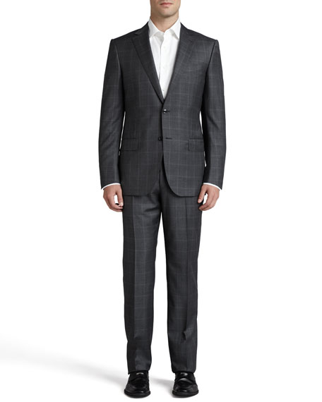 Windowpane-Check Sport Coat, Gray