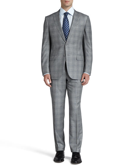 Glen Plaid Two-Piece Suit, Black/White/Blue