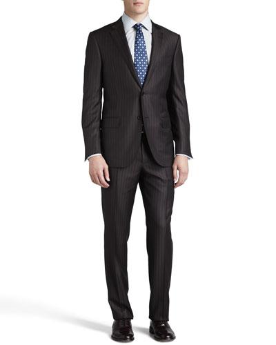 Pinstripe-Herringbone Suit, Brown/Gray