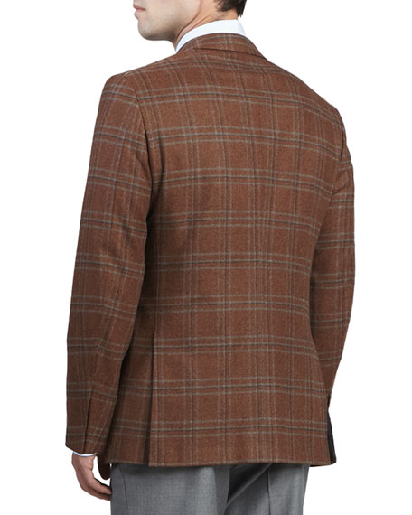 Plaid Wool/Cashmere Sport Coat, Rust
