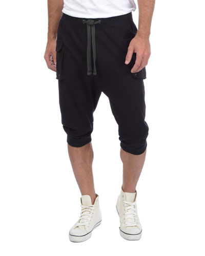 3/4-Length Cargo Sweatpants, Black