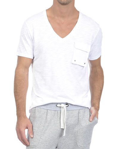 Slub V-Neck Pocket Tee, White