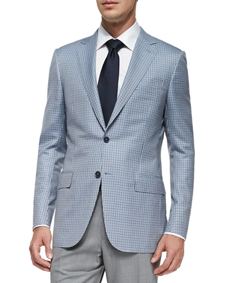 Ermenegildo Zegna Trofeo 600 Check Jacket, Blue/Gray/White