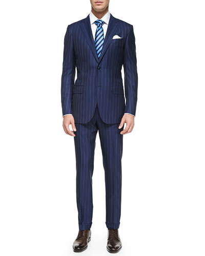 Rope-Stripe Wool Suit, Blue