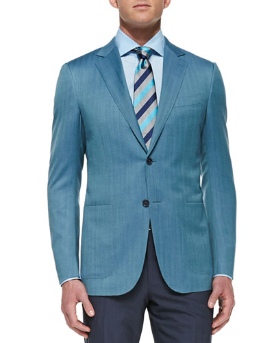 Herringbone Two-Button Jacket, Teal