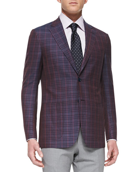 Plaid Two-Button Jacket, Burgundy/Navy