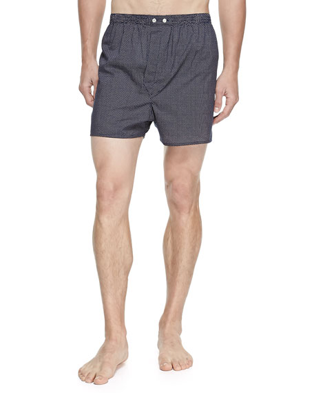 Derek Rose Plaza Pindot Boxer Shorts, Navy