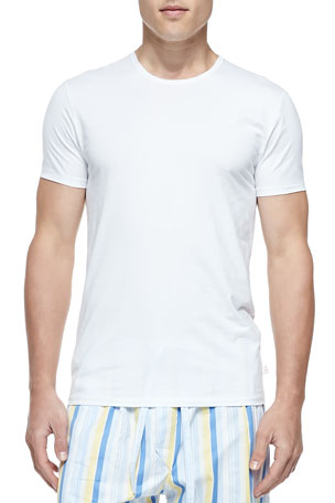 Derek Rose Jack Pima Cotton Stretch Crew Neck Undershirt, White