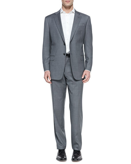 Striped Two-Piece Suit, Gray/Teal
