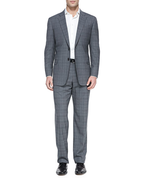 Windowpane Two-Piece Suit, Gray