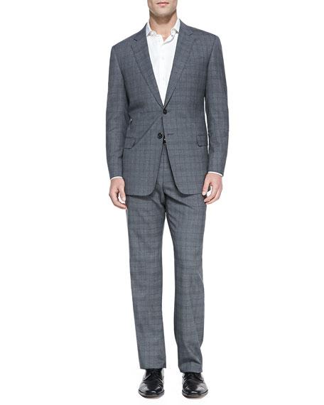 Windowpane Two-Piece Suit, Gray