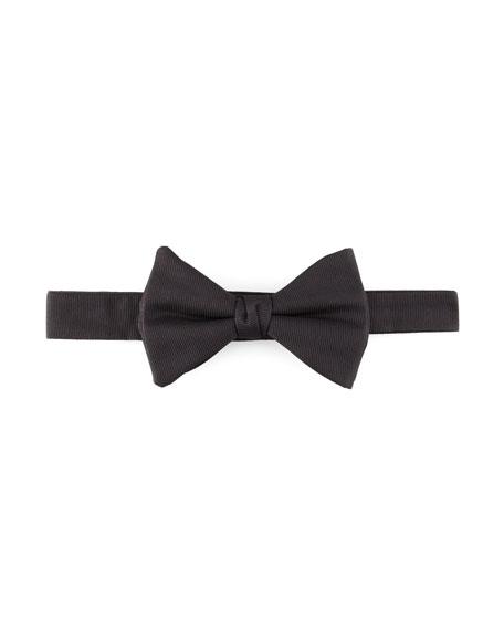 Pre-Tied Faille Bow Tie, Black