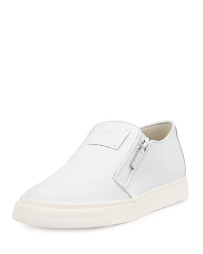 Men's Leather Slip-On Sneaker, White