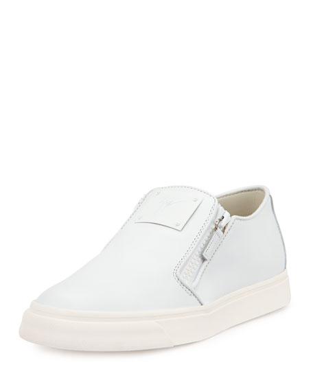 Giuseppe Zanotti Men's Leather Slip-On Sneaker, White