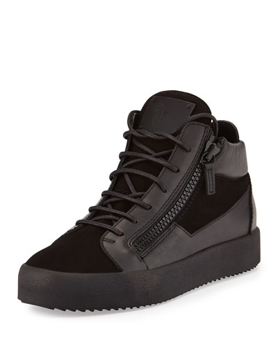 Men's Leather Mid-Top Sneaker, Black
