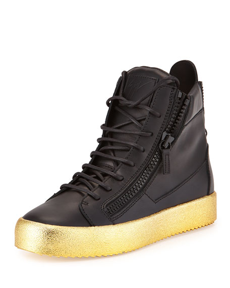 Giuseppe Zanotti Men's Leather High-Top Sneaker, Black/Gold