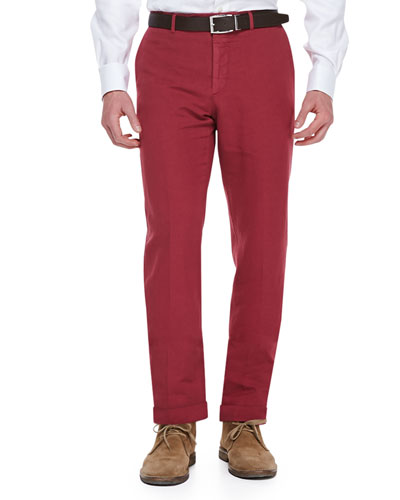 Chinolino Cotton/Linen Trousers, Red