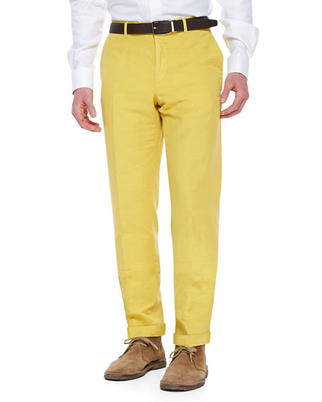 Incotex Chinolino Cotton/Linen Trousers, Yellow