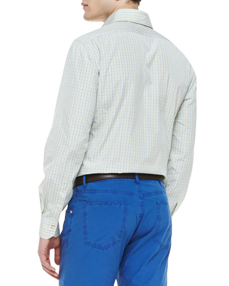 Kiton Check Woven Dress Shirt Yellow Blue