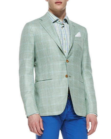Houndstooth Two-Button Jacket, Green/Blue