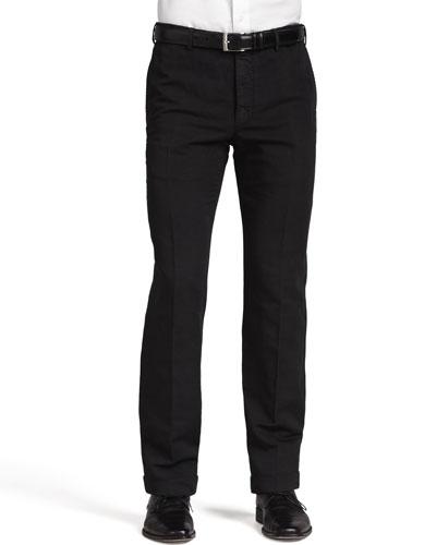 Chinolino Cotton/Linen Trousers, Black