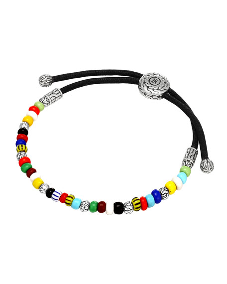 Multicolored Silver Round Beaded Bracelet