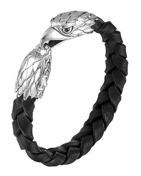 John Hardy Silver Eagle Head Leather Bracelet