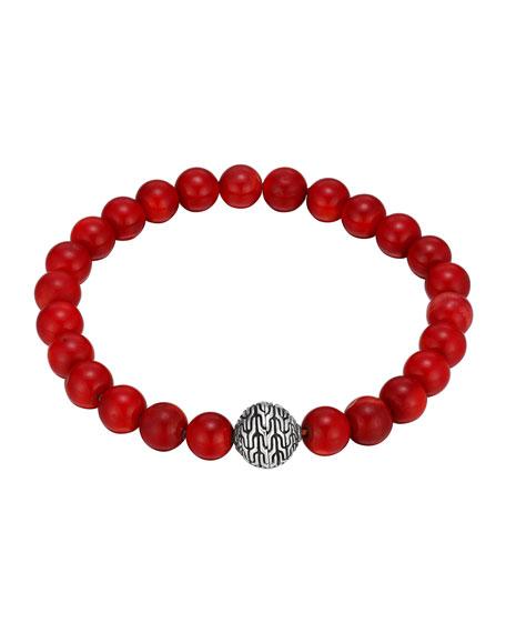 Silver & Coral Beaded Bracelet
