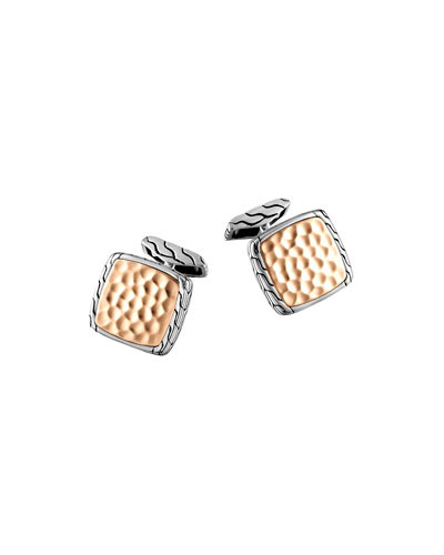 Bronze and Silver Square Cuff Links