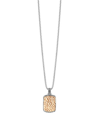 Hammered Box Chain Tag Necklace