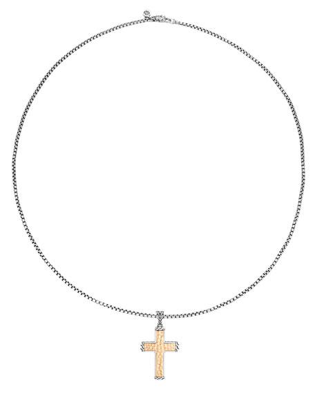 John Hardy Hammered Cross Pendant Box Chain Necklace
