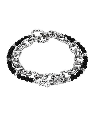 Black Chalcedony Beads & Chain Wrap Bracelet