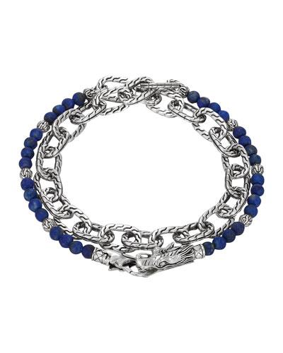 Lapis Lazuli Beads & Chain Wrap Bracelet