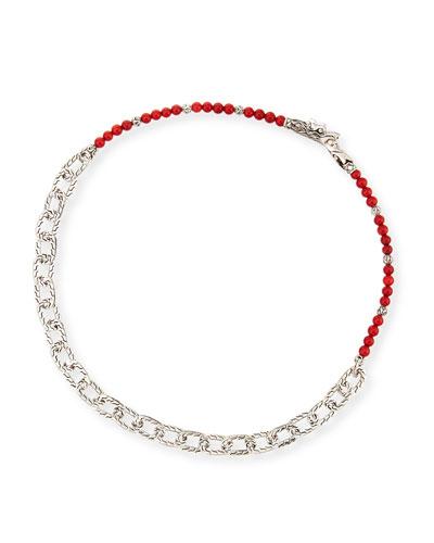 Men's Naga Red Coral Beads & Chain Wrap Bracelet