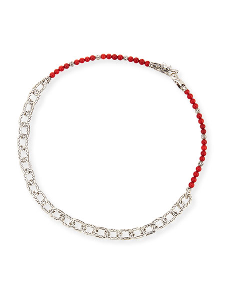 John Hardy Men's Naga Red Coral Beads &